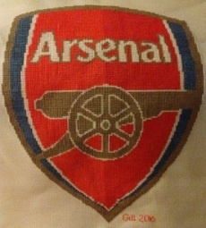 Arsenal badge –hand-stitch by Gill Moon